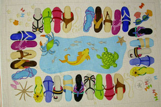 Sandal Rug (Handpainted by Jane Nichols) 18*R763