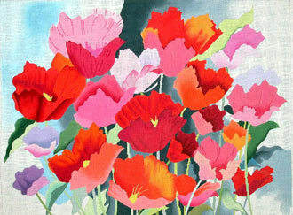 Large Watercolor Poppies   (handpainted by Alice Peterson Designs) 18*1708