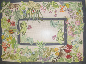 Animals and Flowers Rug     (Handpainted JP Designs) 18*DDA-005