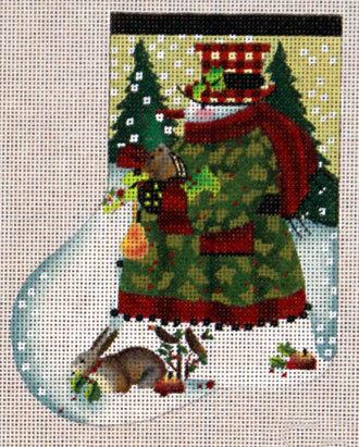 Holly Snowman Mini-Sock (Melissa Shirley) *730F