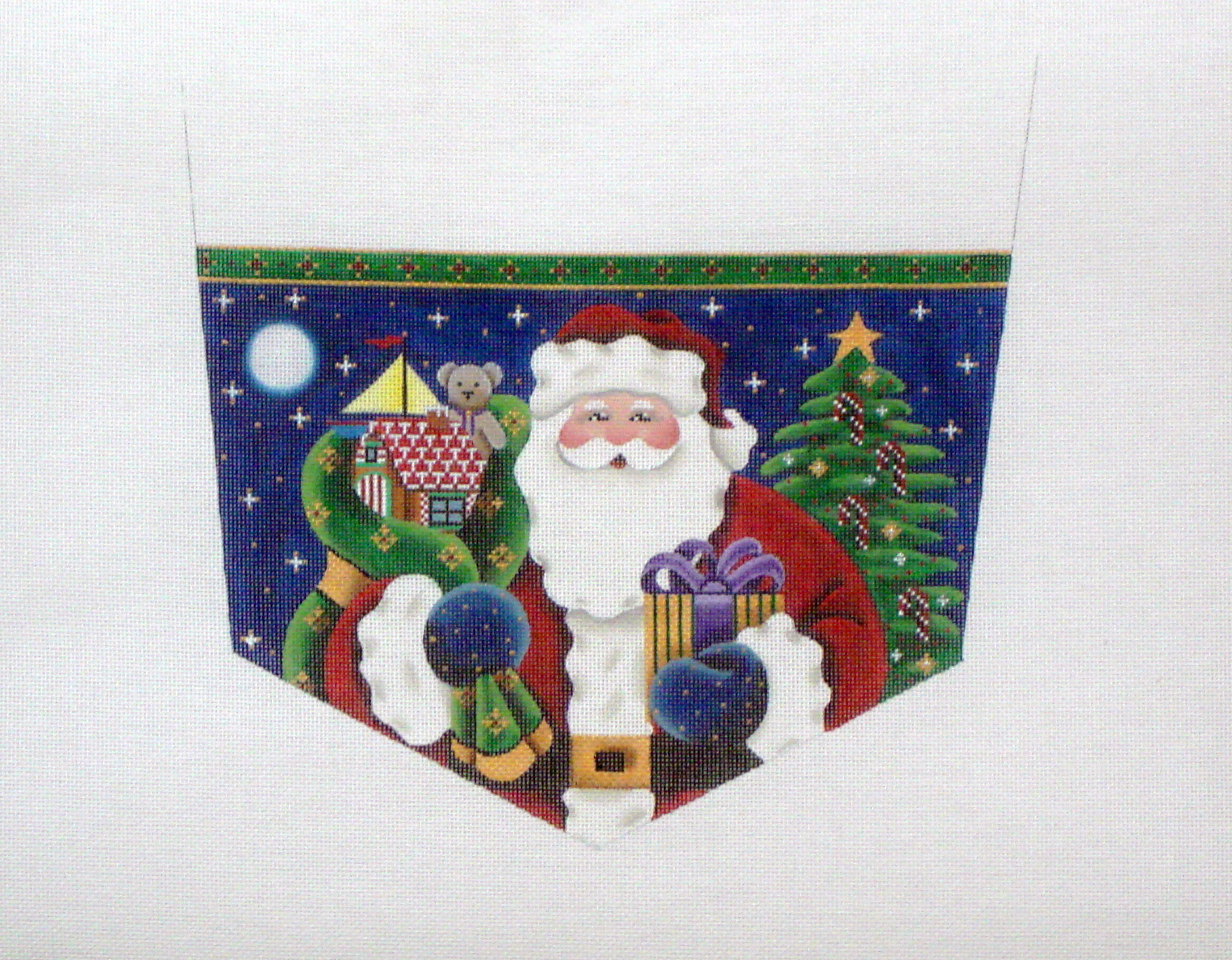 Santa Claus Stocking Cuff  (Handpainted by Rebecca Wood Designs) 18*1411b