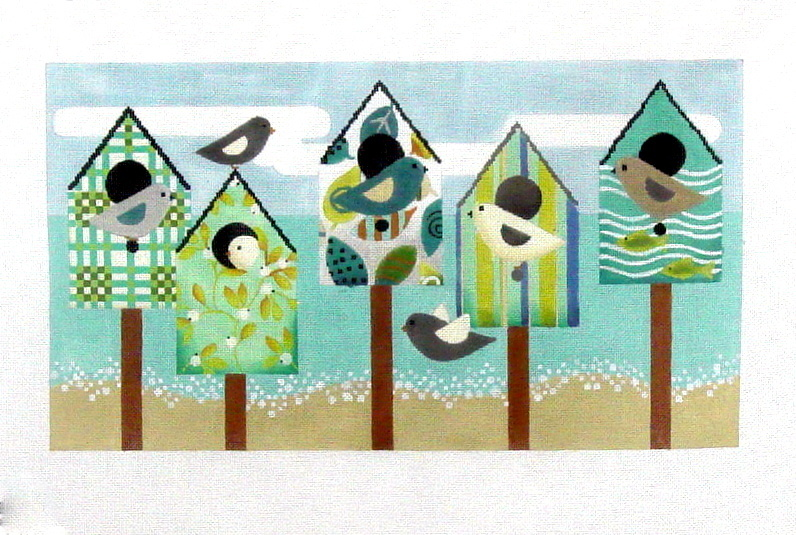 Beach Birds (stitch guide included)    (handpainted by Melissa Shirley) 18*1686