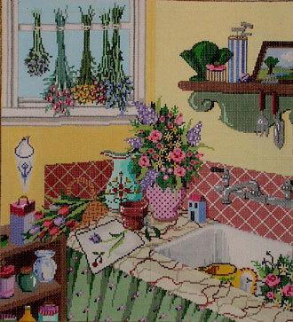 Flowers/Sink   (Handpainted by Sandra Gilmore Designs)