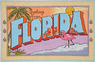 Vintage Florida Postcard   (Handpainted by Raving Beauties) 18*RB-503