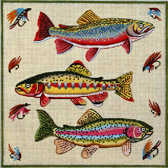Three Fish   (Handpainted by Alice Peterson Company) 18*1873