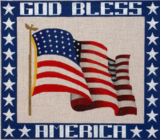 God Bless America   (Handpainted by JP Needlepoint) 18*F-061