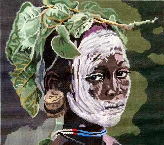 African Fashion Lady  (Hand Painted by Barbara Russell) 18*BR-425