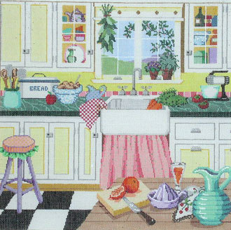 Grandma's Kitchen   (Handpainted by Sandra Gilmore Designs) 18*18-174