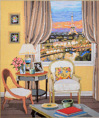 Parisian View  (hand painted by Sandra Gilmore) *18-891