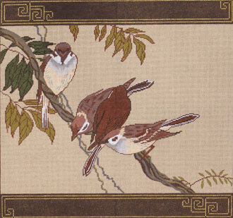 Sparrow Pillow (Handpainted by Red Thread Designs) 18*108A