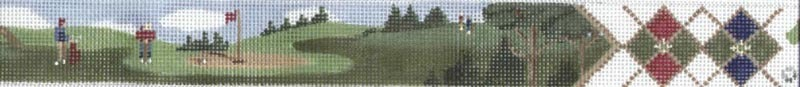 Men on Green Belt (Handpainted by Susan Roberts, a Tapestry Tent Design) 18*TTB-152