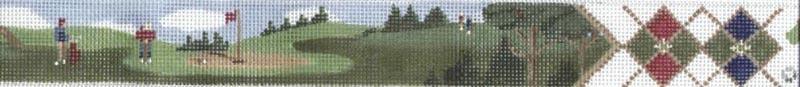 Men on Green Belt (Handpainted by Susan Roberts, a Tapestry Tent Design) 18*TTB152