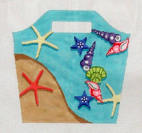 Beach Bucket Bag   (handpainted by Hingham Square Designs) 18*CLBB 860