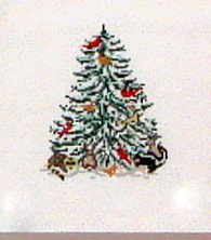 Cardinal & Critter Xmas Tree    (Needle Crossing) *1781