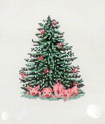 Pink Piggy Tree    (handpainted by Needle Crossing) 18*1782