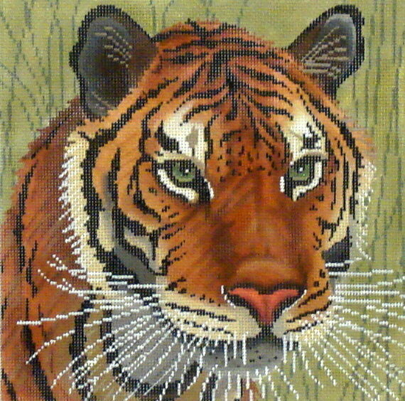 Tiger in Grasses   (Handpainted by JP Needlepoint) 18*A-108