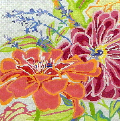 Zinnia Dazzle #1   (handpainted by Jean Smith) 18*190-A