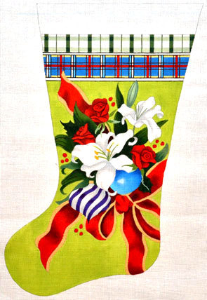 White Lily Stocking (Handpainted by The Point Of It All Designs) 18*XMS012