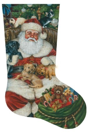Sleeping Santa with Puppies & Kittens Stocking (Handpainted by Tapestry Tent Designs) 18*LGD-AXS064