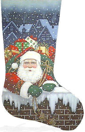 """Santa Pops In""   handpainted by Tapestry Tent) 18*TTAXS-330"