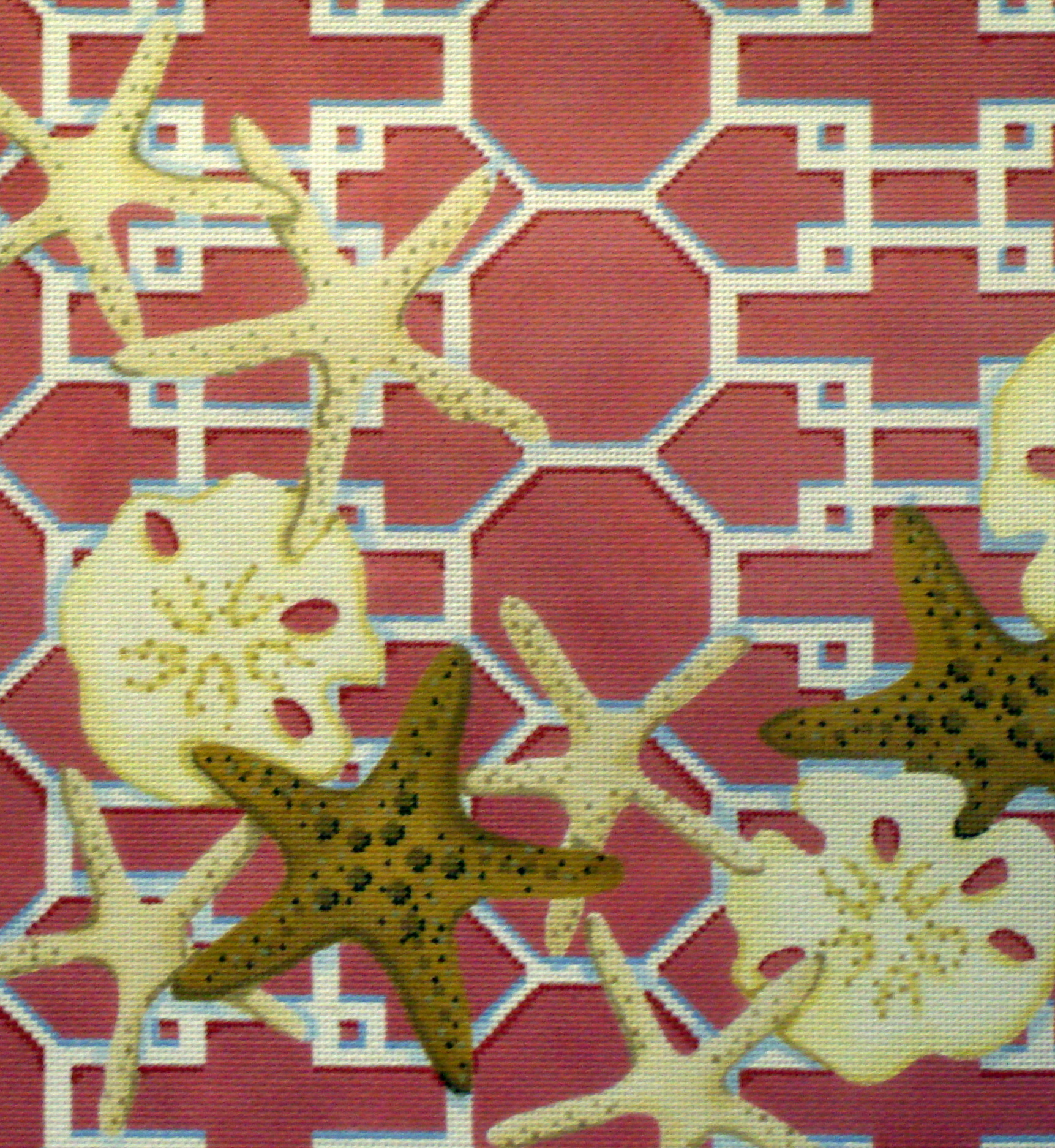 Starfish/Sand Dollar Lattice, Pink (Handpainted by Associated Talents) 18*D1307