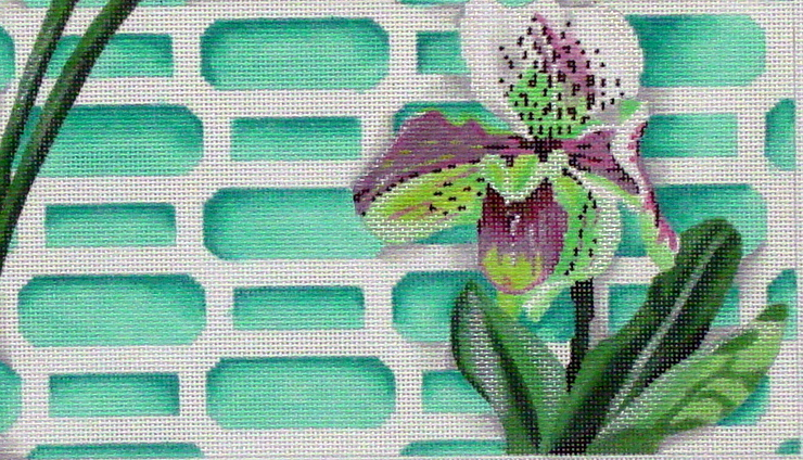 Orchid on Aqua Lattice #2    (handpainted by associated Talents) 18*1425
