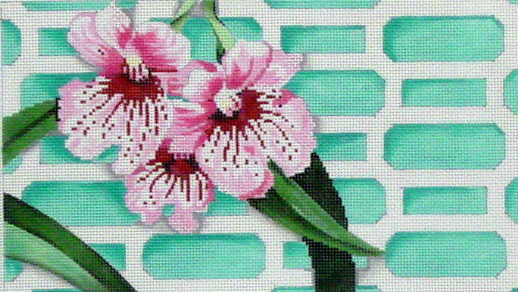 Orchid on Aqua Lattice #1   (handpainted by Associated Talents) 18*D-1424