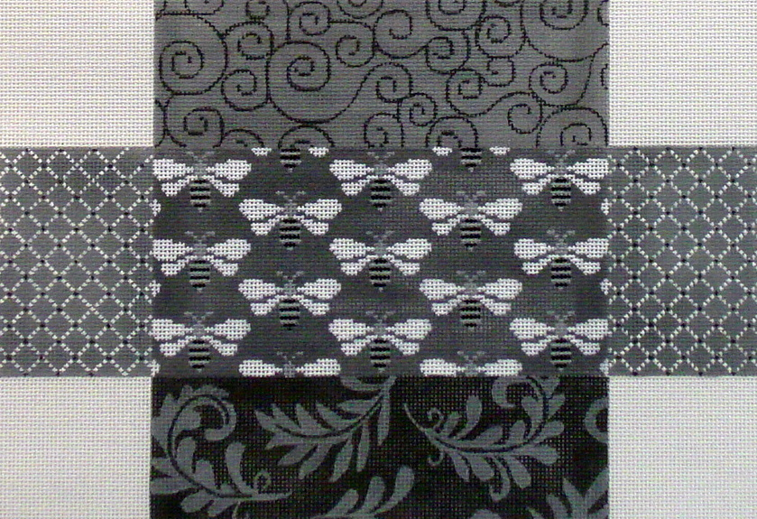 Grey Patch with Bees Brick Cover     (handpainted JP Designs) 18*BC-036