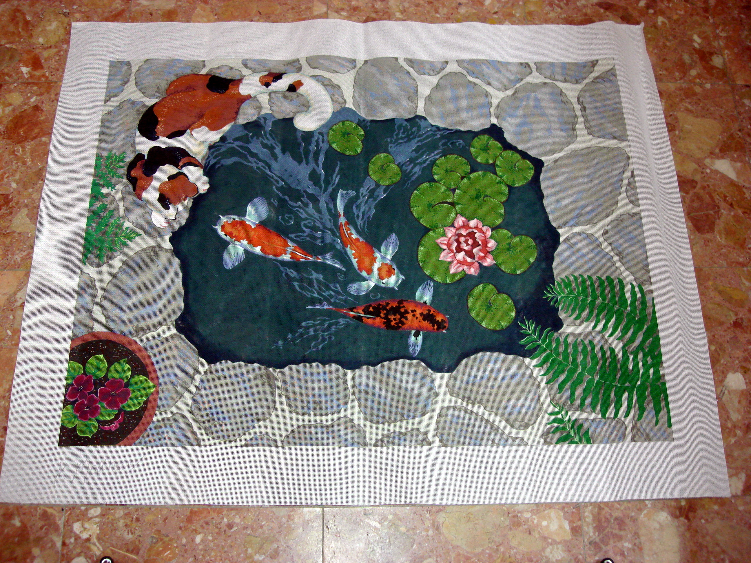 Cat/Koi Rug (Handpainted by Shorebirds Studio) 18*M990