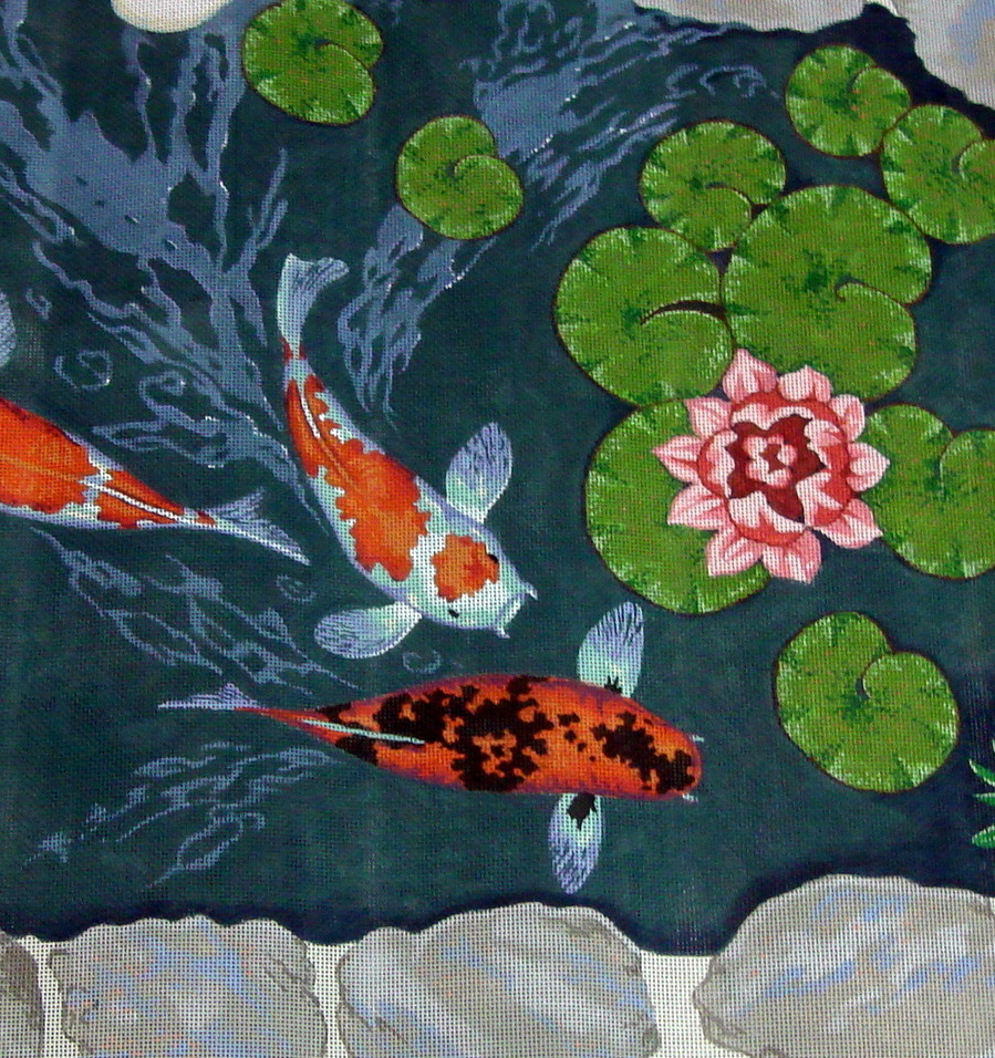 Cat/Koi Rug (Handpainted by Shorebirds Studio)