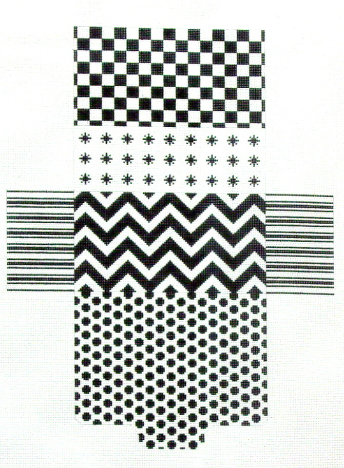 Black & White Graphics Brick Bag   (JP Nedlepoint) *BB002