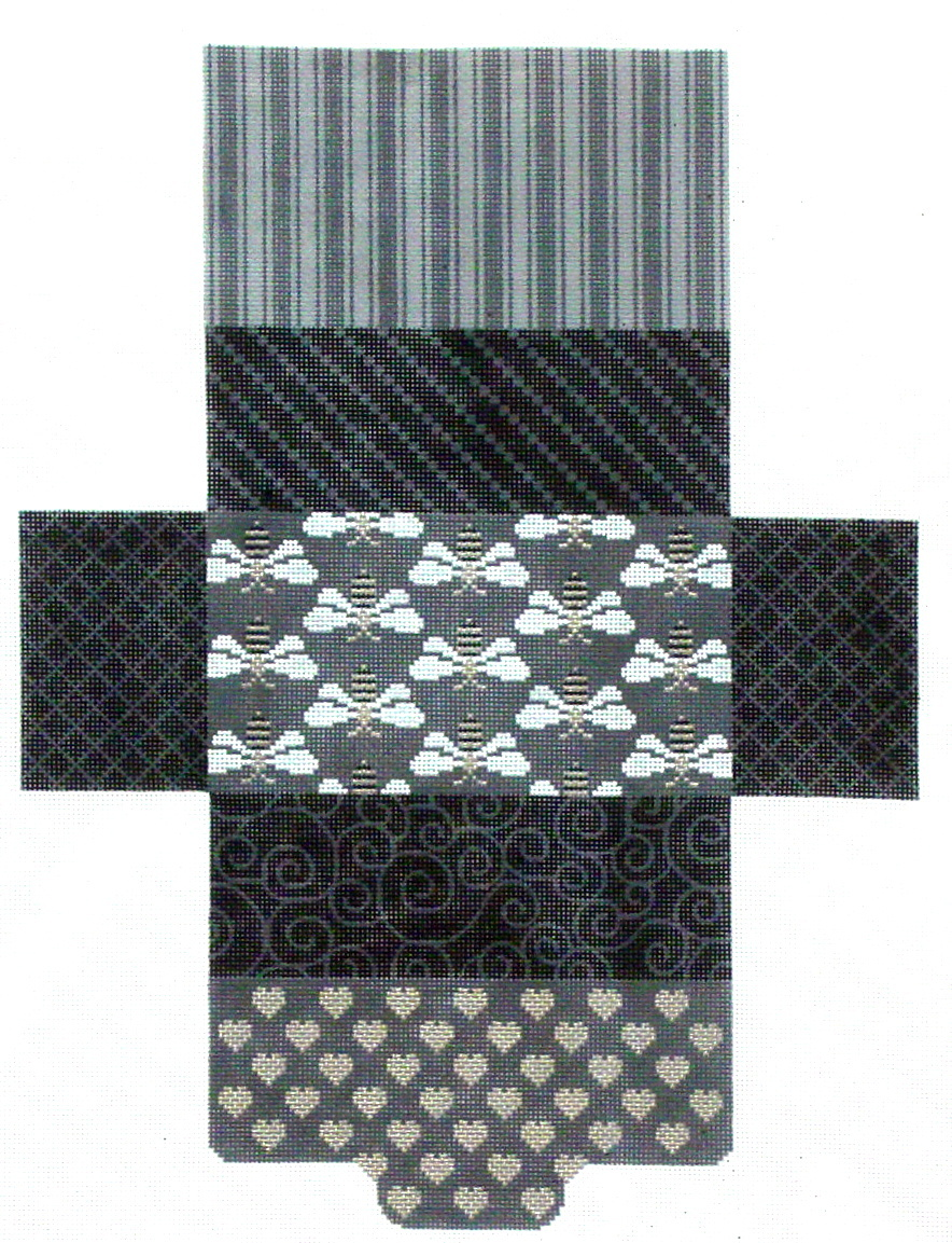 Black & Gray Bee & Hearts, Brick Bag   (Handpainted by JP Needlepoint) 18*BB01