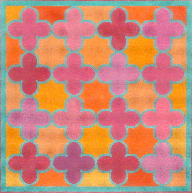 Moroccan Tiles (Quatrefoils in pinks, oranges w/turquoise)  (Handpainted by Kate Dickerson Needlepoint Collection) 18*PL-139
