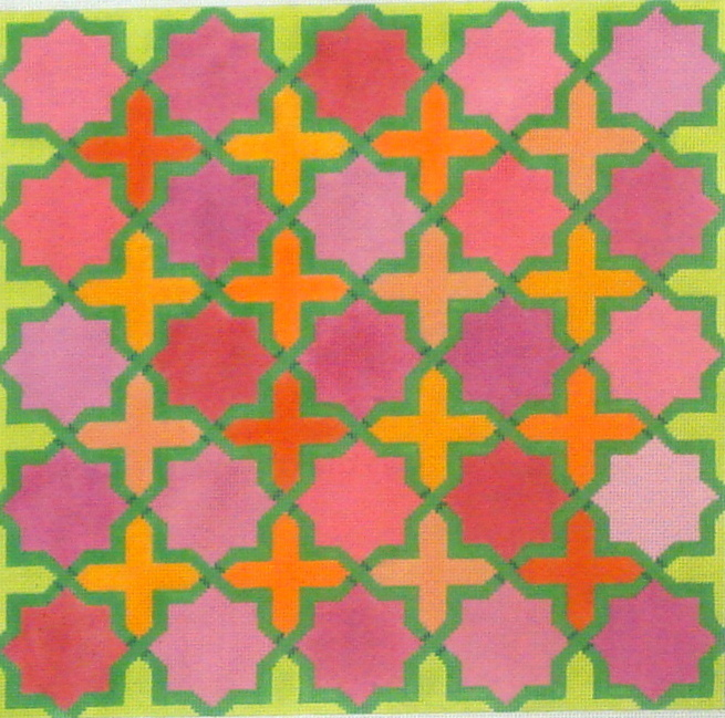 Moroccan Tiles (Crosses & stars in pinks, oranges w/ greens)  (Handpainted by Kate Dickerson Needlepoint Collection) 18*PL-140