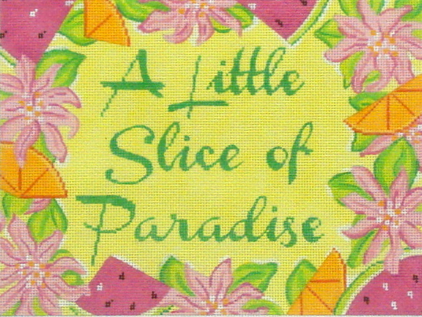 "Lily Inspired ""A Little Slice of Paradise"" (Handpainted by Kate Dickerson Needlepoint Collection) 18*5508"