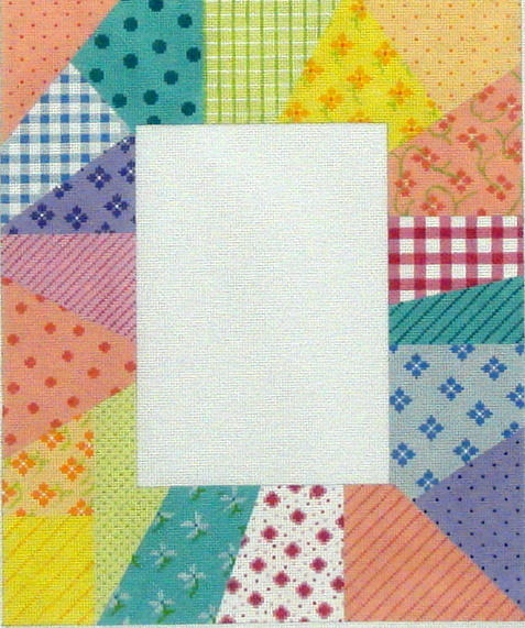 Picture Frame,  Patchwork Soft Pastels (Handpainted by Kate Dickerson Needlepoint Collection) 18*FR-20