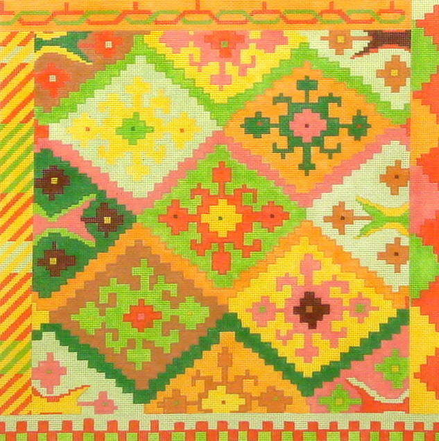 Kilim Square w/Stepped Diamonds, IKAT, Sunset Palette  (Kate Dickerson) *PL144