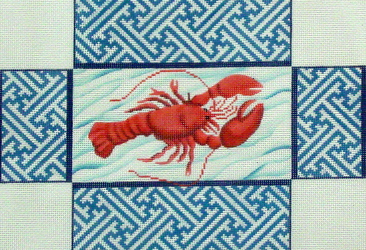 Lobster with Chinoiserie Brick Cover (Handpainted by Kate Dickerson Needlepoint Collection) 18*BR70
