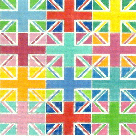 Union Jack Multi Color Blocks  (handpainted by Kate Dickerson) 18*PL-102
