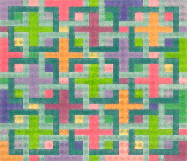 Interlocking Squares - Pucci Colors   (Handpainted by Kate Dickerson Needlepoint Collection) 18*PL-14