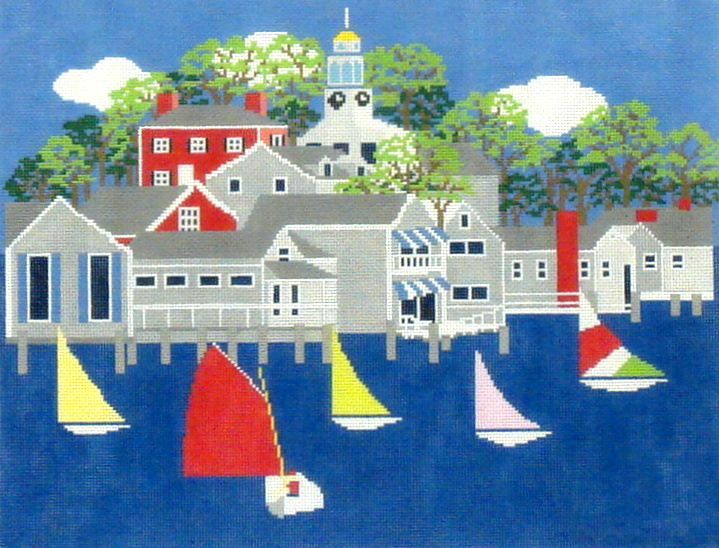 Nantucket Harbour     (handpainted from Wellesley Needlepoint Collection) 18*NL-48