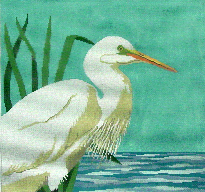 Snowy Egret  (handpainted by Susan Roberts) 18*1042