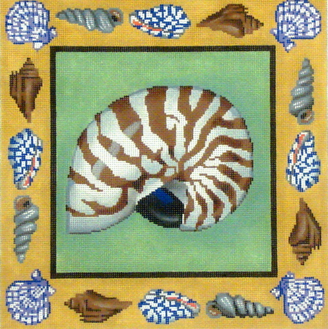 Nautilus Pillow    (handpainted by All About Stitching) 18*P134