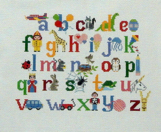Alphabet With Characters    (Canvas is Handpainted by Susan Roberts) 16*2307