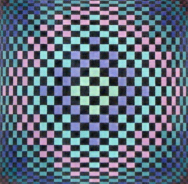 Checker Illusion Square   (Hand painted by Susan Roberts Designs) 18*1698