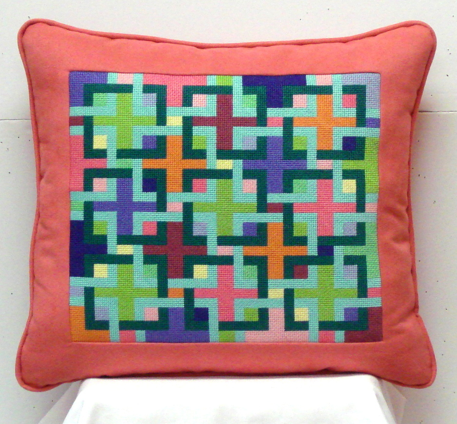Interlocking Squares - Pucci Colors   (Handpainted by Kate Dickerson Needlepoint Collection)