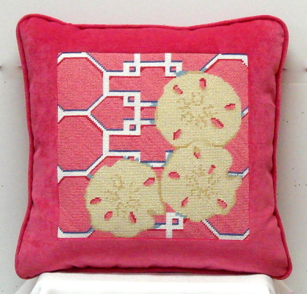Sand Dollar On Lattice/Pink (Model Shown) (Handpainted by Associated Talent 18*D-1306