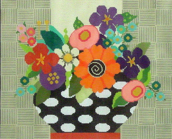 Flowers in Black & White Vase (Handpainted by Needledeeva Inc.) 18*330-13