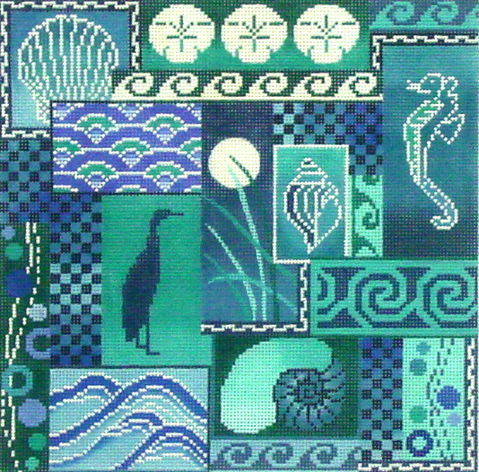 Scenes of the Sea  (Blue),  (handpainted from Mindy's Needlepoint Factory) 18*2295-13