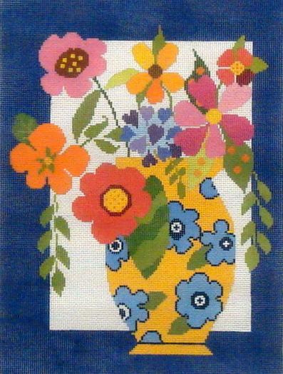 Flowers in Yellow Vase B38-133-18